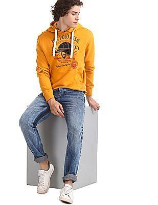 U.S. Polo Assn. Yellow Hooded Graphic Sweatshirt