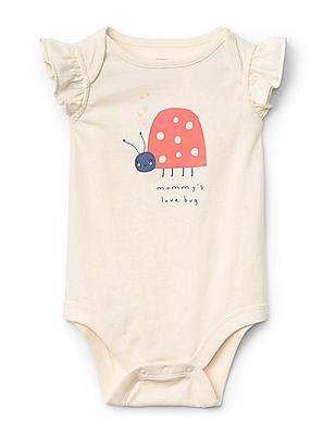 GAP Baby White Flutter Sleeve Graphic Bodysuit