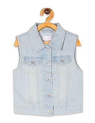 The Children's Place Girls Blue Sleeveless Denim Jacket