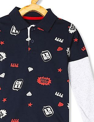 Cherokee Blue Boys Doctor Sleeve Printed Polo Shirt