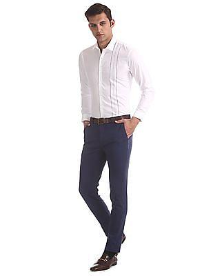Arrow Newyork Blue Super Slim Fit Patterned Trousers