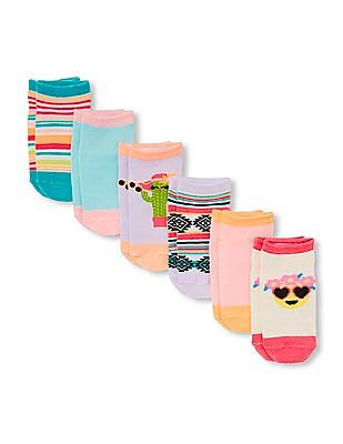 The Children's Place Toddler Girl Mixed Print Ankle Socks 6-Pack
