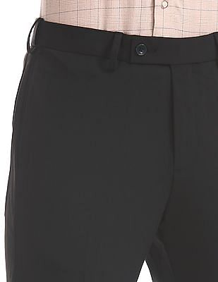Arrow Black Tapered Fit Solid Trousers