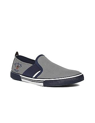 U.S. Polo Assn. Grey Round Toe Canvas Slip On Shoes