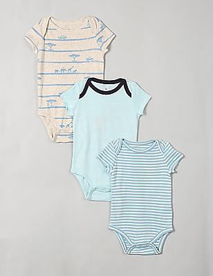 GAP Baby Assorted Safari Stripe Short Sleeve Bodysuit - Pack Of 3