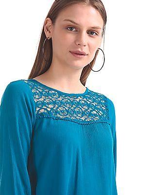 Cherokee Lace Trim Crinkled Top