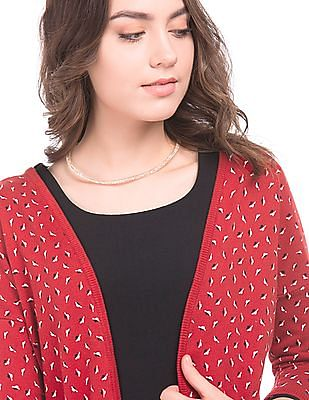 Arrow Woman Leaf Print Knit Shrug