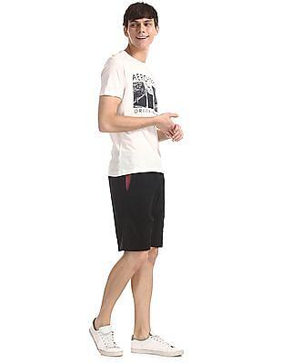 Aeropostale Black Drawstring Waist Knit Shorts