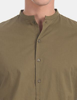 Flying Machine Green French Placket Solid Casual Shirt