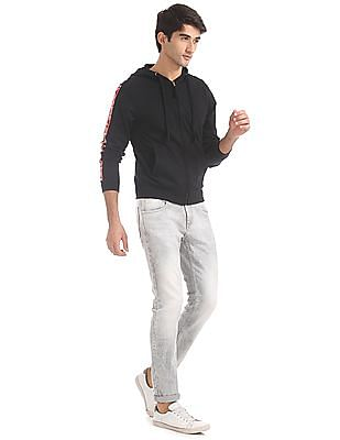 Flying Machine Black Sleeve Patch Hooded Sweatshirt