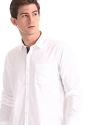Ruggers White Spread Collar Slub Weave Shirt