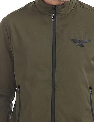 Flying Machine Solid Zip Up Bomber Jacket