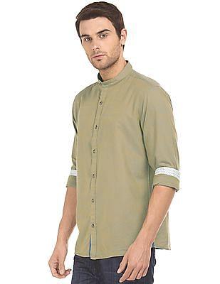 Ruggers Self Striped Mandarin Collar Shirt