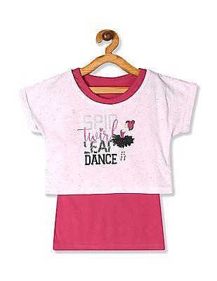 Cherokee Pink Girls Embellished Twofer Top