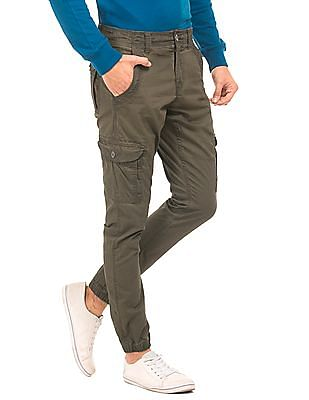 Flying Machine Solid Slim Fit Cargo Joggers