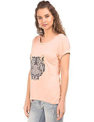 EdHardy Women Embellished Front Short Sleeve T-Shirt