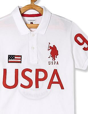 U.S. Polo Assn. Kids White Boys Embroidered Branding Polo Shirt