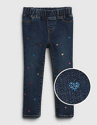 GAP Baby Superdenim Glitter Heart Jeggings With Fantastiflex