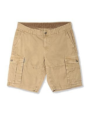 U.S. Polo Assn. Denim Co. Brown Solid Twill Cargo Shorts