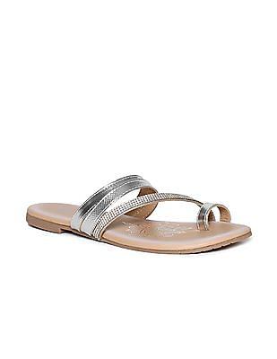 Bronz Silver And Beige Embellished Strap Sandals