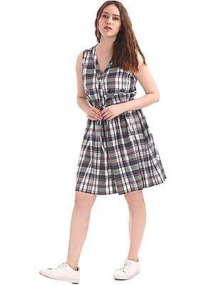 GAP Printed Fit & Flare Shirt Dress