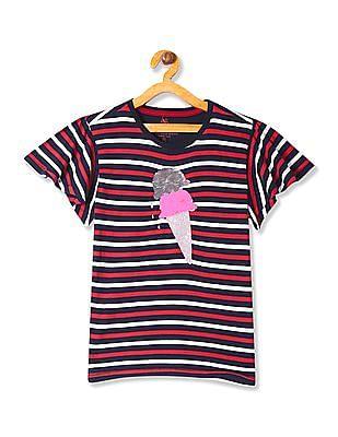 U.S. Polo Assn. Kids Girls Sequin Front Striped T-Shirt