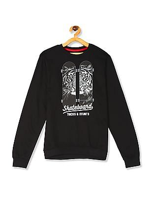 FM Boys Black Boys Crew Neck Skateboard Print Sweatshirt