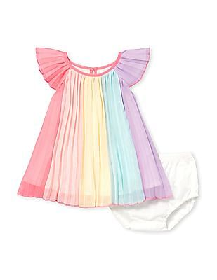 The Children's Place Baby Multi Colour Short Flutter Sleeve Rainbow Pleated Woven Dress And Bloomers Set