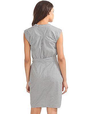 GAP Women White Stripe Ruched Shirtdress in Poplin
