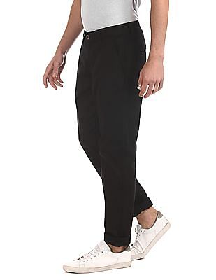 Ruggers Black Modern Slim Fit Solid Trousers