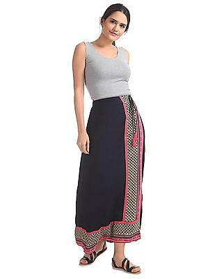 Bronz Printed Panelled Maxi Skirt