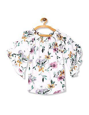 Cherokee White Girls Floral Print Off Shoulder Top