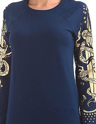 EdHardy Women Embellished Sleeve Crew Neck Sweatshirt