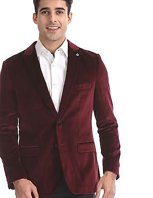 Arrow Red Zero Calorie Slim Fit Velveteen Blazer