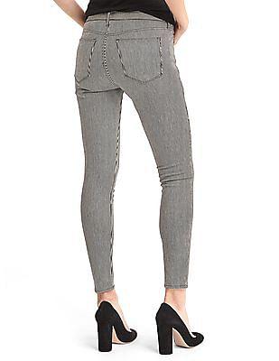GAP Women White Mid Rise Railroad Stripe True Skinny Ankle Jeans