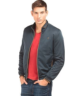 Arrow Sports Contrast Tipped Regular Fit Bomber Jacket