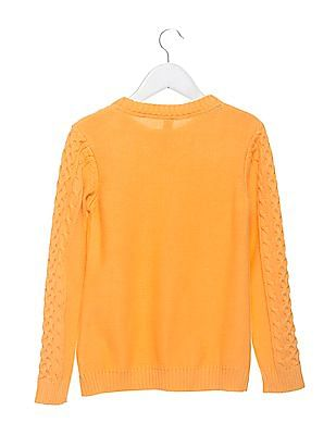 U.S. Polo Assn. Kids Girls Patterned Knit Full Sleeve Sweater