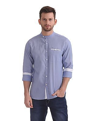 Flying Machine Mandarin Collar Striped Shirt