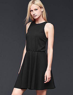 GAP Women Black Sleeveless Fit & Flare Dress
