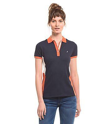 Nautica Navy Regular-Fit Panelled Polo Shirt