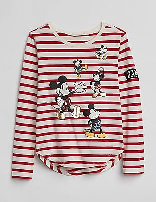 GAP Girls Red Disney Mickey Mouse and Minnie Mouse T-Shirt