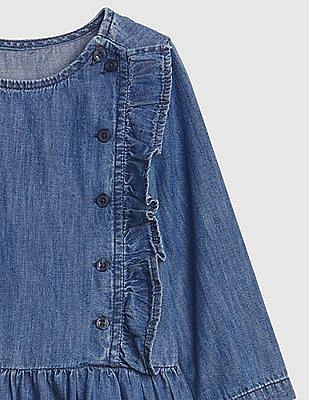 GAP Baby Denim Button Ruffle Dress