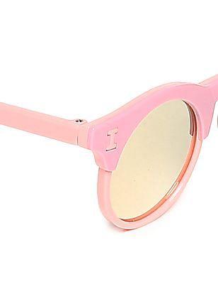 Unlimited Girls Round Frame Mirrored Sunglasses