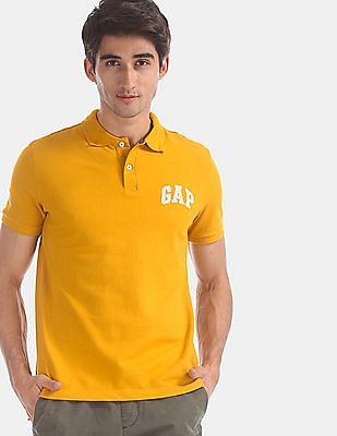 GAP Yellow Brand Logo Pique Polo Shirt