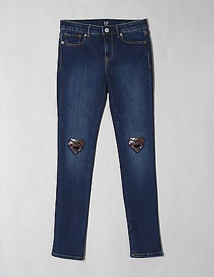 GAP Blue Girls Flippy Sequin Skinny Jeans with Fantastiflex