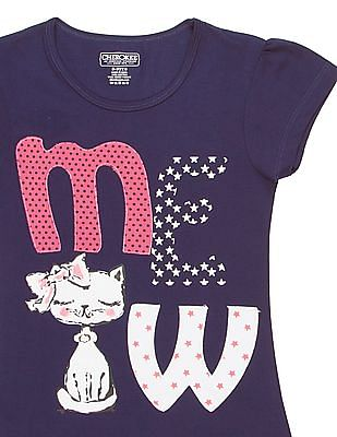 Cherokee Girls Contrast Applique Printed T-Shirt