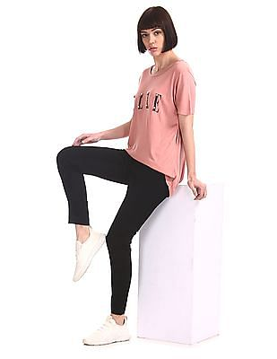 Elle Studio Pink High Low Embellished T-Shirt