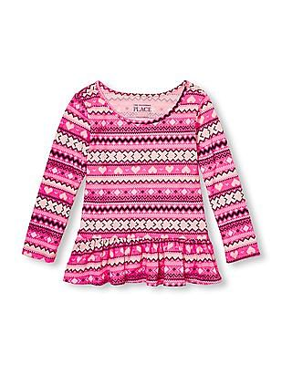 The Children's Place Toddler Girl Pink Long Sleeve Printed Peplum Top