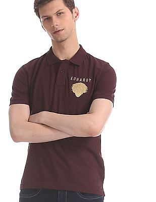 Ed Hardy Brown Solid Pique Polo Shirt