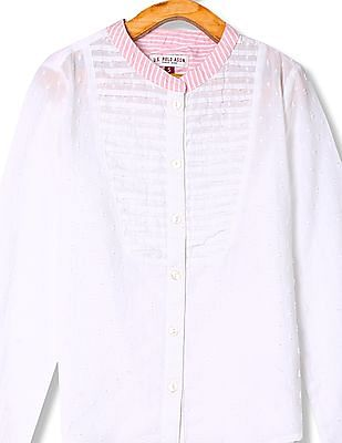 U.S. Polo Assn. Kids Girls Stripe Collar Dobby Shirt